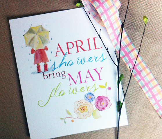 April Showers Bring May Flowers Spring Chalkboard: New Spring Art Prints
